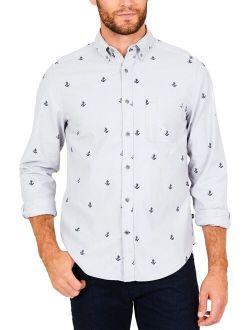 Mens Anchor Print Classic Fit Button-down Shirt Gray Xxl