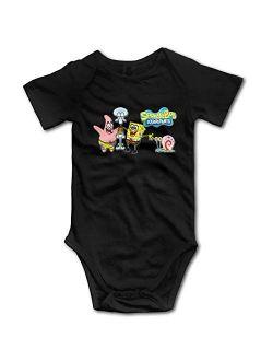 Hodmes Spongebob Baby Onesies Super Soft Cotton Infant Onesies Comfy Short Sleeve Bodysuit