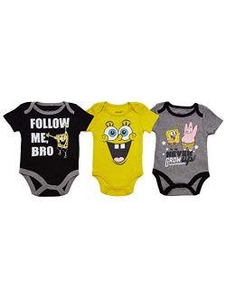 Spongebob Squarepants Baby Boys' Short Sleeve Onesies Bodysuit 3Pack Set (0-9 Months)