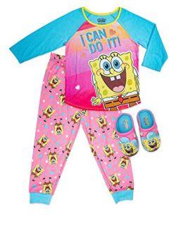 SpongeBob Girls Pajama Set with Slippers,Long Sleeve PJ Set, Girls size 4/5 to 10/12