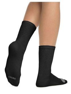 Womens Cool Comfort Crew Socks 6-pack, 5-9, Black W/white Vent