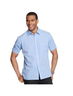 Heusen Never Tuck Slim-fit Poplin Chambray Button-down Shirt