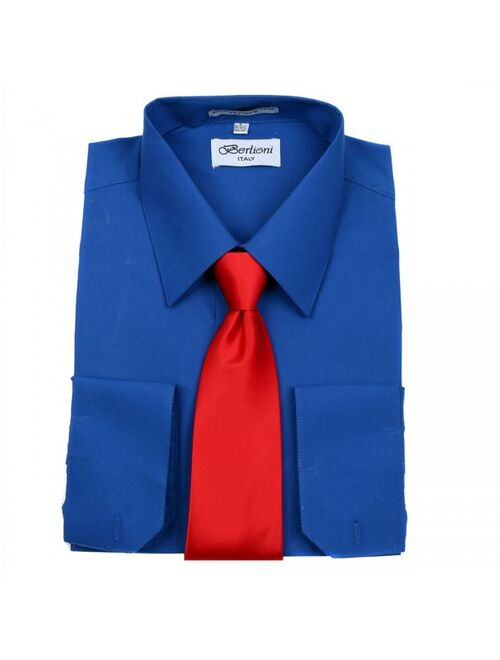 Men/'s Berlioni Business French Cuff Tie Set Mustar Dress Shirt And Burgundy Tie