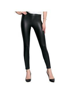 Robert Matthew Faux Leather Leggings - Bodacious High Waisted Tummy Control Fashion Leggings for Women, Womens High Waist Skinny Pants, Black Stretchy Pants