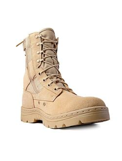 """Men's Tactical Boots Dura Max 8"""" with Zipper Sand Suede Leather Waterproof Coyote Oil & Slip Resistant Boots"""