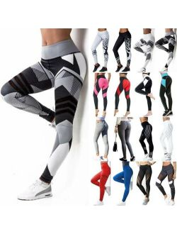 Women High Waist Yoga Pants Leggings Pockets Compression Workout Ruched Trousers