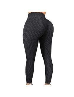 Vaslanda Yoga Pants Ruched Workout Scrunch Leggings Fitness Booty Lifting Textured Leggings Activewear Tights Pants