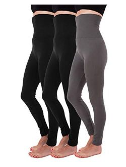 Homma Fleece Lined Thick Tummy-High Waist Compression Leggings 3 Pack