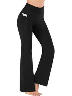 Heathyoga Bootcut Yoga Pants for Women with Pockets High Waisted Workout Pants for Women Bootleg Work Pants Dress Pants
