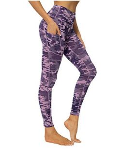 YUANRANER High Waisted Compression Leggings, Workout Athletic Tummy Control Yoga Pants with Pockets