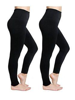 Fleece Lined Leggings High Waist Tummy Control Compression Leggings Tummy Control Seamless Warm Winter