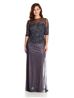 Women's Plus-size Beaded Illusion Gown
