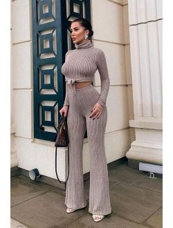 Knits Not Over Sweater Set - Taupe