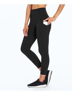 Black 22'' Pocket High Waist Tummy Control Crop Leggings - Women