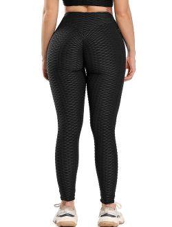 Women High Waist Yoga Leggings Texrured Tummy Control Butt Lift Booty Pants Workout Running Tights Black Xs