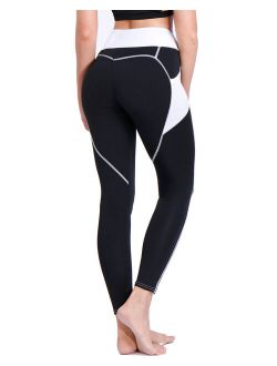 Women High Waist Yoga Leggings With Pockets Tummy Control Workout Athletic Pants Yoga Tights Black S
