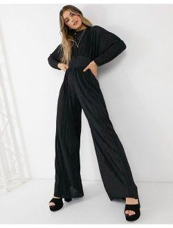 High Neck Crinkle Jumpsuit In Black