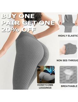 Anti-Cellulite Yoga Pants High Waist Compression Leggings Ruched Butt Lift Workout Trousers