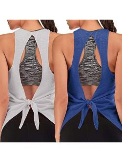 Built in Bra Workout Tank Tops for Women Racerback Yoga Exercise Athletic Shirt Loose Fitting