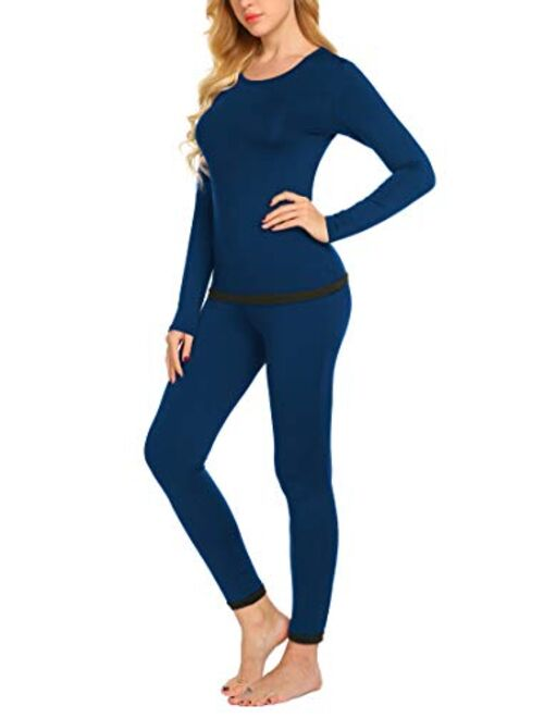 Ekouaer Womens Thermals Thin Long Underwear Set Ultra-Soft Long Johns Set Lightweight Base Layer
