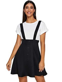 Women's Tartan Plaid Button Decor Flared Skater Pinafore Suspender Overall Skirt