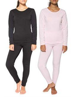 2 & 4 Piece: Womens Thermal Underwear Set - Thermal Underwear for Women Fleece Lined Top & Bottom Long Johns