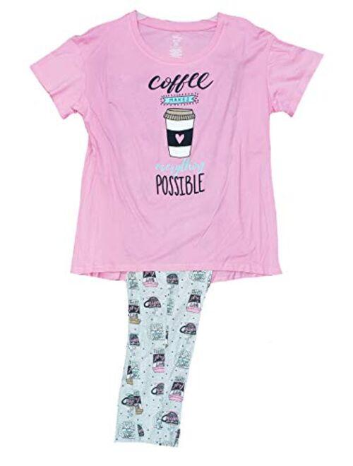 Secret Treasures Coffee Makes Everything Possible Pink Truffle Tee & Capri Knit Pajama Set