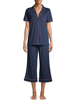 Geo Print Navy Notch Collar Top & Capri Pajama Sleep Set
