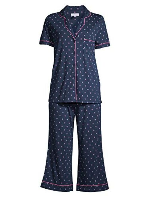 Secret Treasures Geo Print Navy Notch Collar Top & Capri Pajama Sleep Set