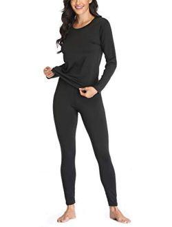 Women 's Thermal Underwear Set with Lightweight Ultra Soft Fleece Lined,Long John Set, Moisture-Wicking Skiing Base Layer