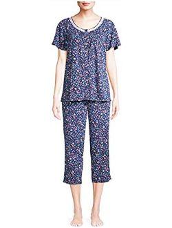 Tiny Floral Blue Cove V-Neck Top & Capri Pajama Sleep Set