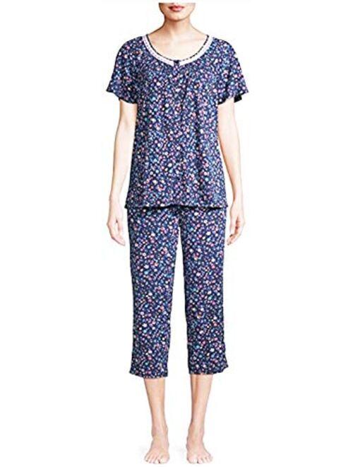 Secret Treasures Tiny Floral Blue Cove V-Neck Top & Capri Pajama Sleep Set