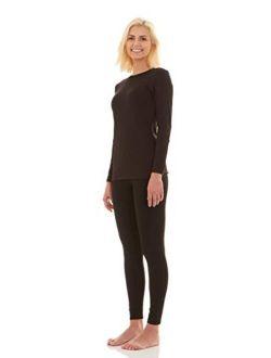 Bodtek Womens Thermal Underwear Set Premium Long John Base Layer Fleece Lined Top and Bottom