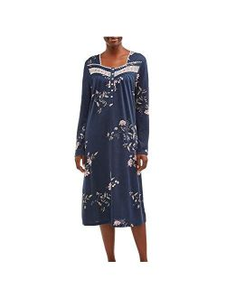 Blue Cove Floral Print Long Sleeve Gown Nightgown