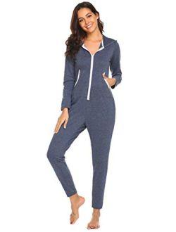 Onesies Zipper Up Union Jumpsuit One Piece Base Layers Hooded Sweatshirt Sleepwear For Women