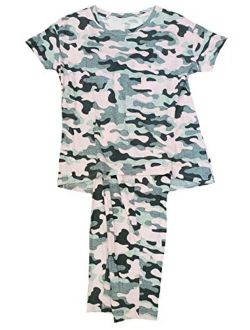 Camo Completely Pink Tee & Capri Knit Pajama Sleep Set