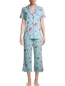 Summer Print Pastel Turquoise Notch Collar Top & Capri Pajama Sleep Set