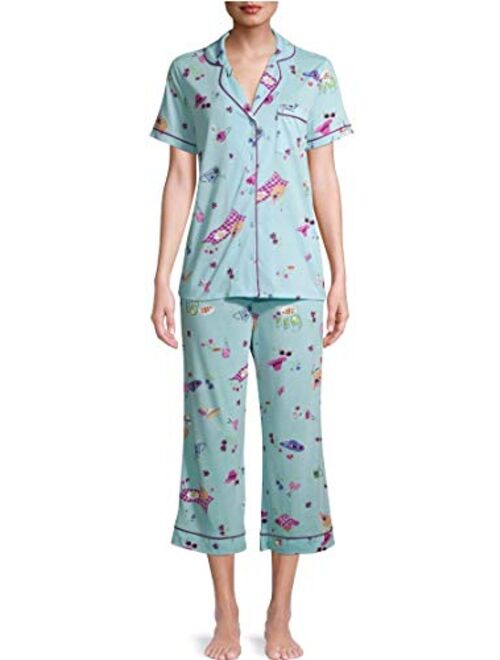 Secret Treasures Summer Print Pastel Turquoise Notch Collar Top & Capri Pajama Sleep Set
