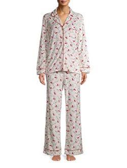 Cardinal Print Winter White Long Sleeve Notch Collar Pajama Sleep Set