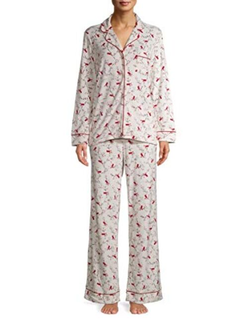 Secret Treasures Cardinal Print Winter White Long Sleeve Notch Collar Pajama Sleep Set