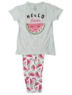 Hello Summer Gray Tee & Capri Knit Pajama Sleep Set