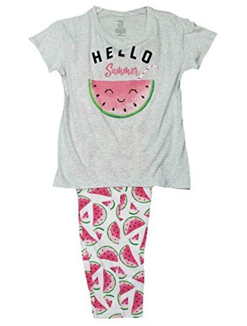 Secret Treasures Hello Summer Gray Tee & Capri Knit Pajama Sleep Set