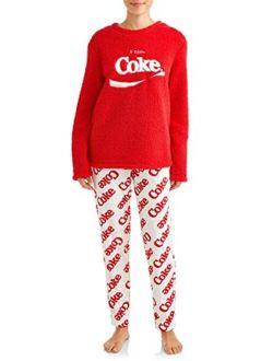 Women's Enjoy Coke Plush Fleece 2 Piece Pajama Sleep Set
