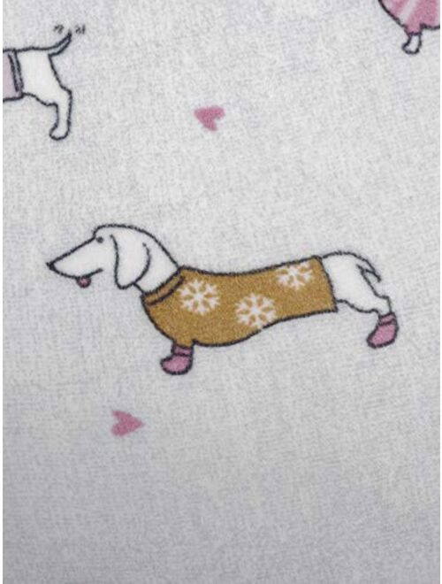 Secret Treasures Dachshund Dogs Winter White Fleece Jogger Lounge Sleep Pants