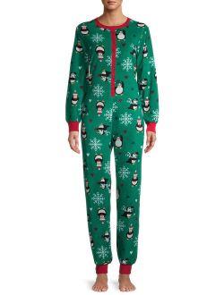 Peace, Love & Dreams Women's Holiday Print Pajama Drop Seat Union Suit