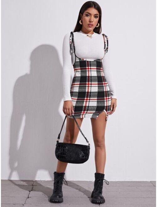 Shein Plaid Tie Shoulder Overall Dress