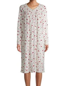 Cardinal Print Winter White V-Neck Long Sleeve Velour Gown Nightgown