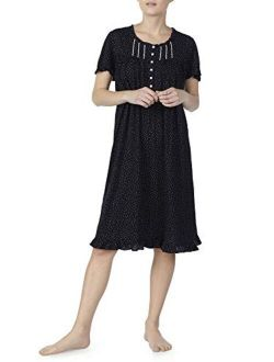 Black Soot Dot Short Sleeve Gown Nightgown