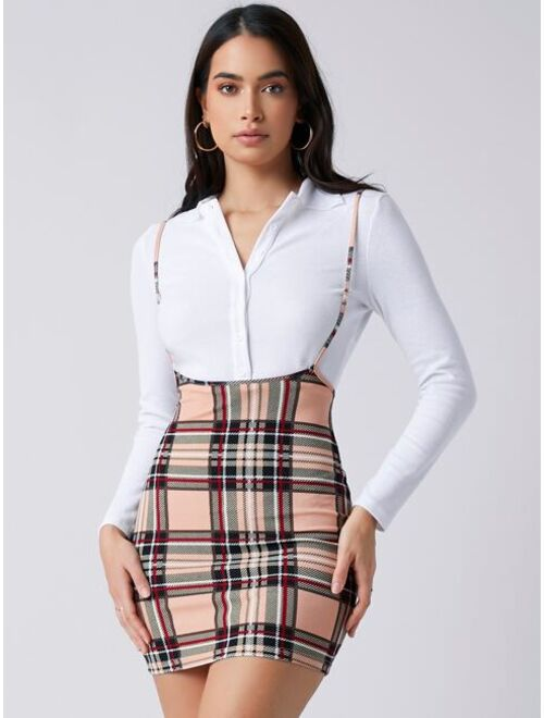 Shein Plaid Suspender Dress Without Tee
