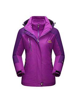 Women's Winter Coats 3-in-1 Snow Ski Jacket Water Resistant Windproof Fleece Winter Jacket Parka